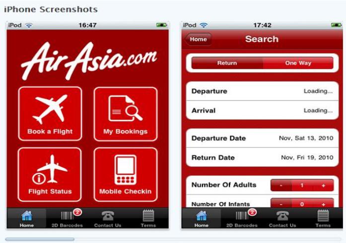 App đặt vé Air Asia
