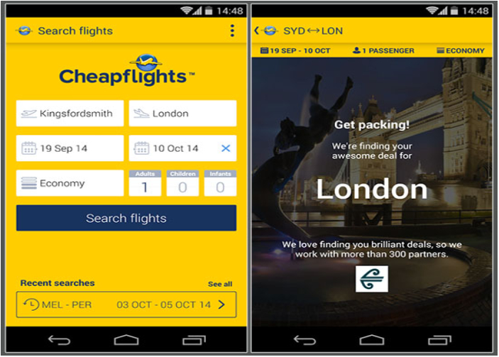 Ứng dụng đặt vé máy bay giá rẻ CheapFlights