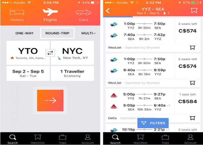 App Kayak - trợ thủ đặt vé máy bay online